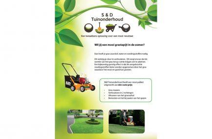 S&D Tuinonderhoud – Flyer Verticuteren A5 – Voorkant